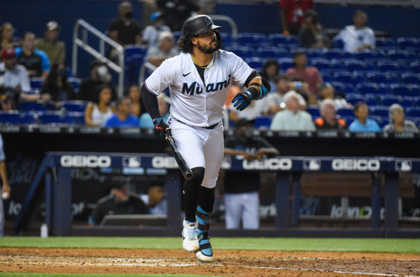 MIAMI, FL - AUGUST 03: Jorge Alfaro #38 of the Miami Marlins hits a double in the eighth inning against the New York Mets at loanDepot park on August 3, 2021 in Miami, Florida. (Photo by Eric Espada/Getty Images)