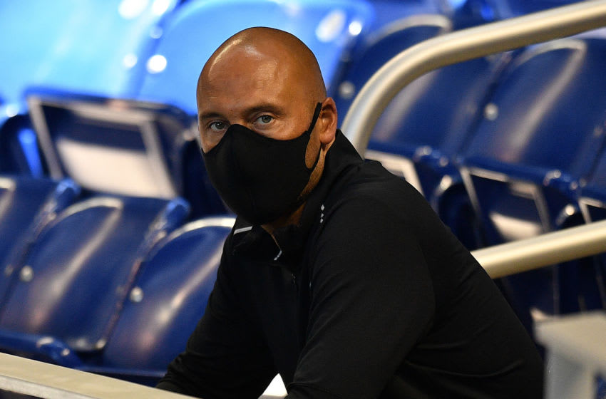 MIAMI, FLORIDA - JULY 03: Derek Jeter CEO of the Miami Marlins wears a mask while attending the Miami Marlins Summer Workouts at Marlins Park on July 03, 2020 in Miami, Florida. (Photo by Mark Brown/Getty Images)