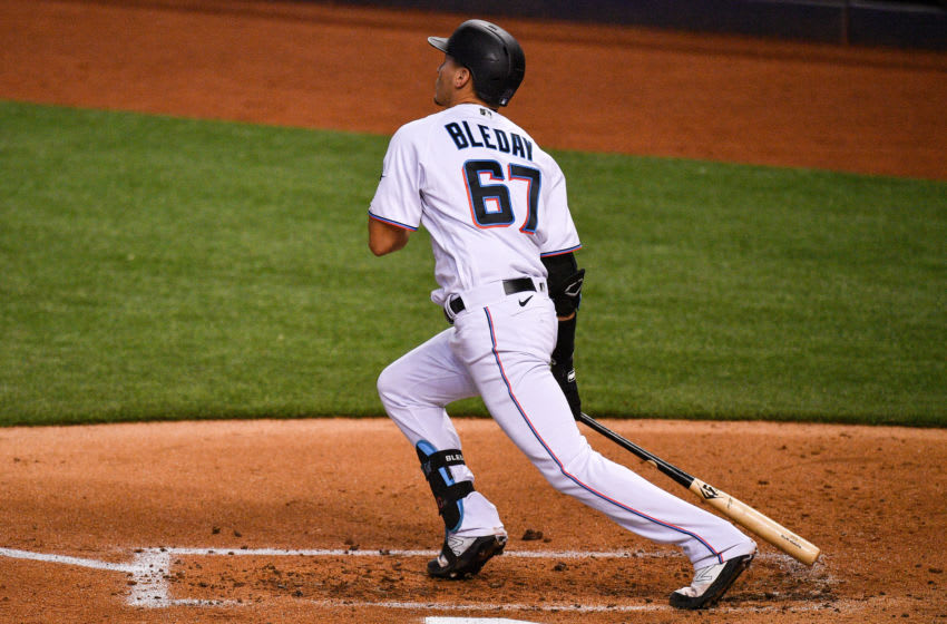 MIAMI, FLORIDA - JULY 17: JJ Bleday #67 of the Miami Marlins runs the bases after hitting an upper deck homerun in his first at bat during an intrasquad game at Marlins Park at Marlins Park on July 17, 2020 in Miami, Florida. (Photo by Mark Brown/Getty Images)