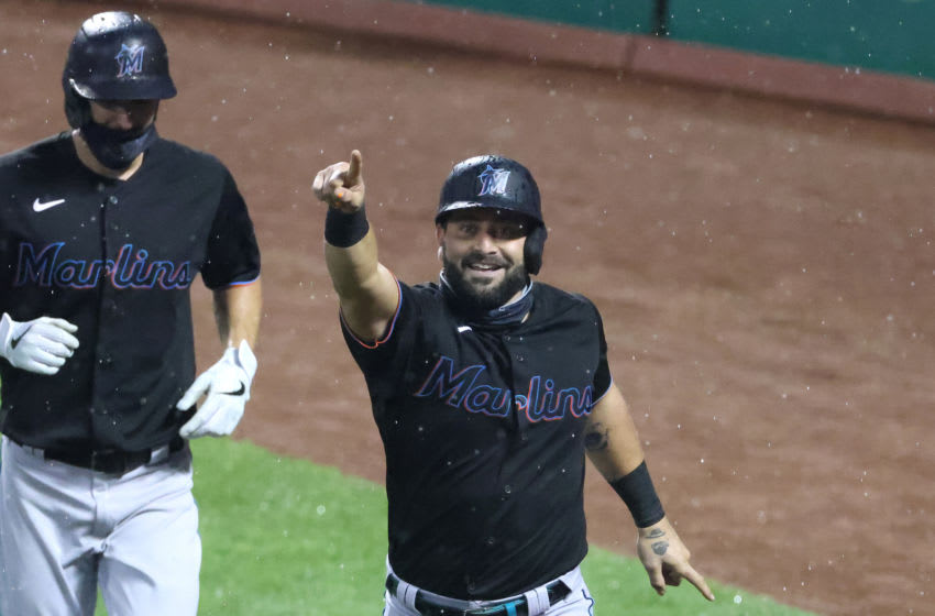 NEW YORK, NEW YORK - AUGUST 07: Francisco Cervelli #29 of the Miami Marlins celebrates after hitting a three run home run in the second inning against the New York Mets during their game at Citi Field on August 07, 2020 in New York City. (Photo by Al Bello/Getty Images)