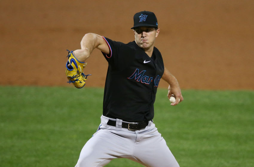 NEW YORK, NEW YORK - AUGUST 25: Trevor Rogers #95 of the Miami Marlins pitches in his MLB debut during the second inning against the New York Mets at Citi Field on August 25, 2020 in New York City. (Photo by Mike Stobe/Getty Images)