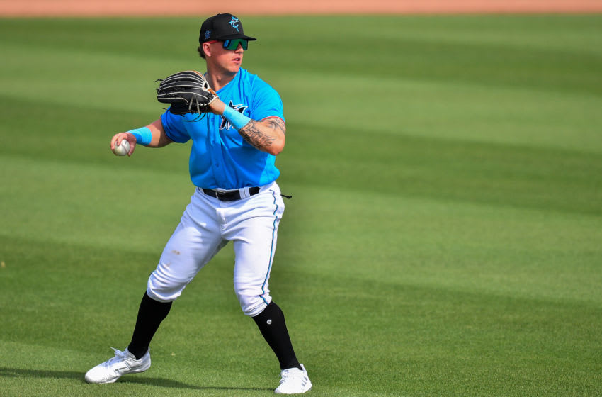 JUPITER, FLORIDA - MARCH 02: Peyton Burdick #86 of the Miami Marlins fields the line drive against the St. Louis Cardinals in a spring training game at Roger Dean Chevrolet Stadium on March 02, 2021 in Jupiter, Florida. (Photo by Mark Brown/Getty Images)