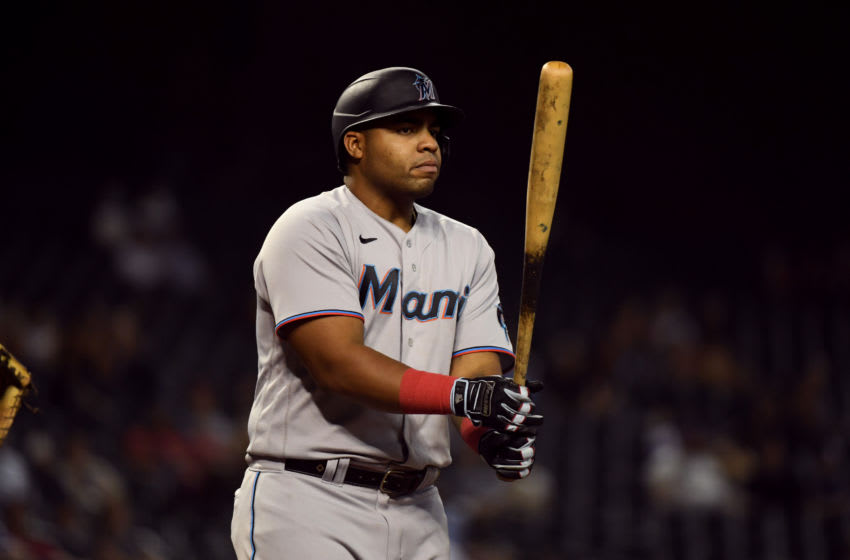 PHOENIX, ARIZONA - MAY 12: Jesus Aguilar #24 of the Miami Marlins gets ready in the batters box against of the Arizona Diamondbacks at Chase Field on May 12, 2021 in Phoenix, Arizona. (Photo by Norm Hall/Getty Images)