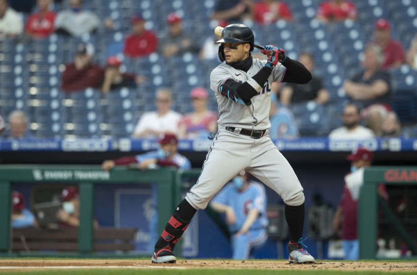 PHILADELPHIA, PA - MAY 20: Isan Diaz #1 of the Miami Marlins bats against the Philadelphia Phillies at Citizens Bank Park on May 20, 2021 in Philadelphia, Pennsylvania. The Marlins defeated the Phillies 6-0. (Photo by Mitchell Leff/Getty Images)