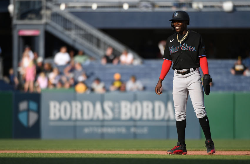 PITTSBURGH, PA - JUNE 05: Jazz Chisholm Jr. #2 of the Miami Marlins in action during the game against the Pittsburgh Pirates at PNC Park on June 5, 2021 in Pittsburgh, Pennsylvania. (Photo by Justin Berl/Getty Images)