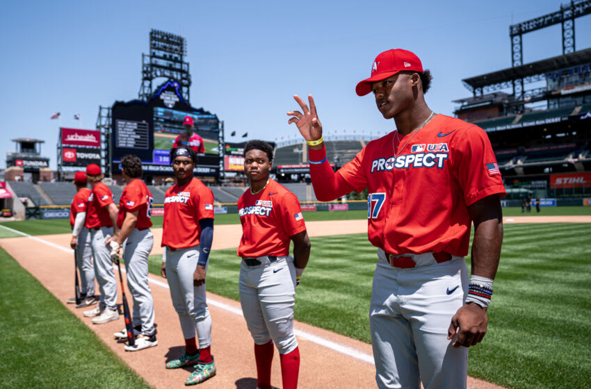 DENVER, CO - JULY 10: Elijah Green is announced prior to the Major League Baseball All-Star High School Home Run Derby Finals at Coors Field on July 10, 2021 in Denver, Colorado. (Photo by Matt Dirksen/Colorado Rockies/Getty Images)