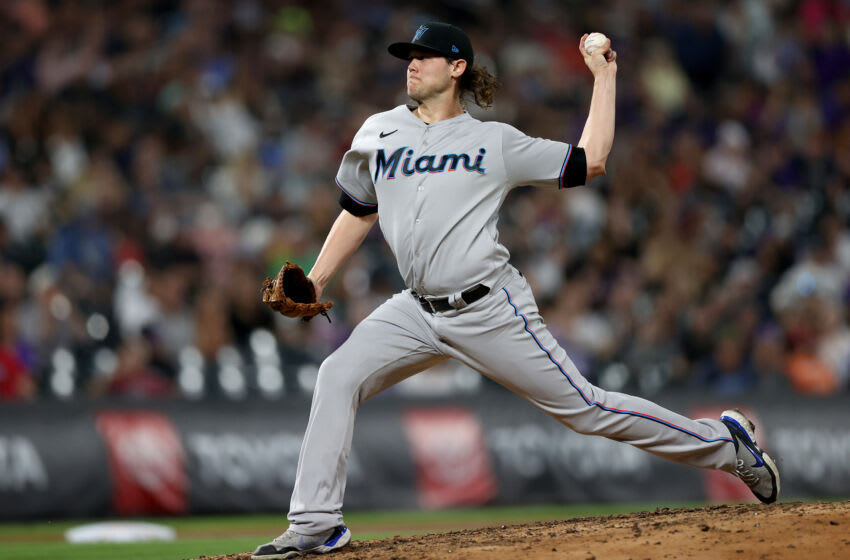 DENVER, COLORADO - AUGUST 06:Pitcher Steven Okert #48 of the Miami Marlins throws against the Colorado Rockies in the sixth inning at Coors Field on August 06, 2021 in Denver, Colorado. (Photo by Matthew Stockman/Getty Images)
