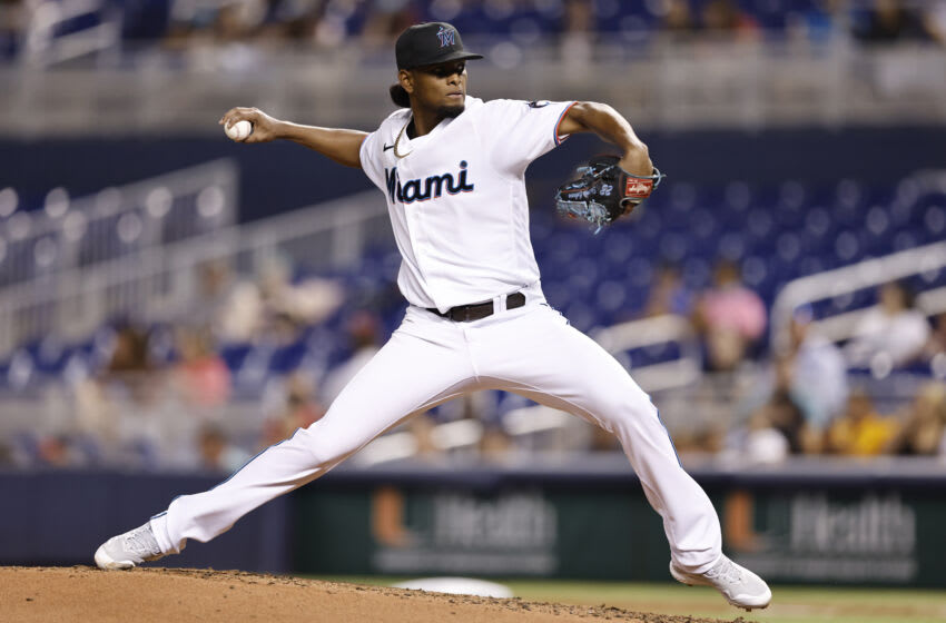 MIAMI, FLORIDA - AUGUST 25: Edward Cabrera #79 of the Miami Marlins delivers a pitch against the Washington Nationals at loanDepot park on August 25, 2021 in Miami, Florida. (Photo by Michael Reaves/Getty Images)