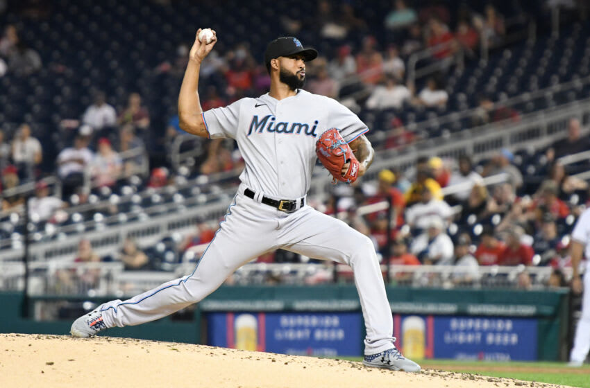 WASHINGTON, DC - SEPTEMBER 13: Sandy Alcantara #22 of the Miami Marlins pitches during a baseball game against the Washington Nationals at Nationals Park on October 13, 2021 in Washington, DC. (Photo by Mitchell Layton/Getty Images)