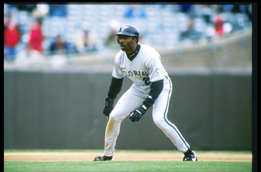 10 Apr 1997: Center fielder Devon White of the Florida Marlins leads off the base during a game against the Chicago Cubs at Wrigley Field in Chicago, Illinois. The Marlins won the game 1-0. Mandatory Credit: Matthew Stockman /Allsport