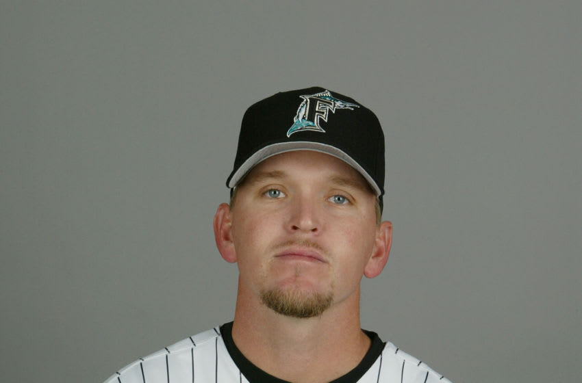 JUPITER, FL - FEBRUARY 28: Pitcher Tommy Phelps #57 of the Florida Marlins during photo day February 28, 2004 at Roger Dean Stadium in Jupiter, Florida. (Photo by Eliot J. Schechter/Getty Images)