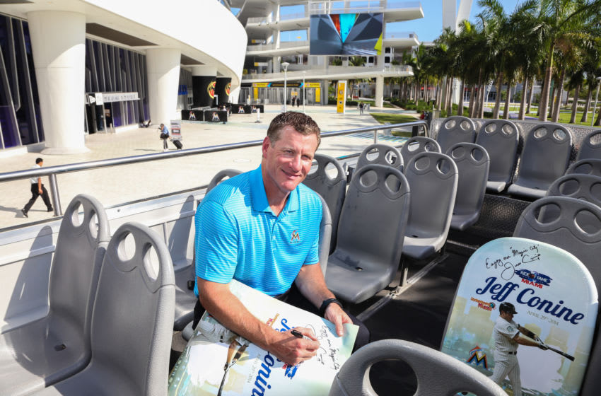 MIAMI, FL - APRIL 29: Jeff Conine poses while being honored as the Ride of Fame Inducts 1st Miami Honoree Jeff Conine as part of worldwide expansion at Marlins Park on April 29, 2014 in Miami, Florida. (Photo by John Parra/Getty Images for Ride of Fame)