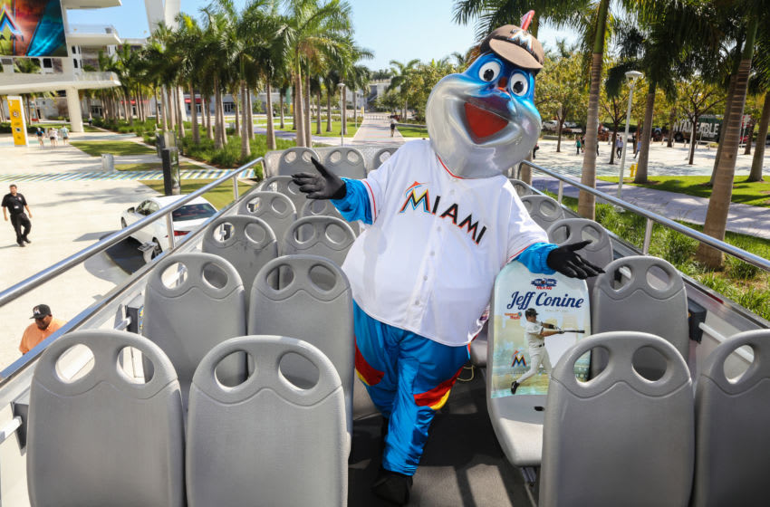 MIAMI, FL - APRIL 29: Billy The Marlin poses while being honored as the Ride of Fame Inducts 1st Miami Honoree Jeff Conine as part of worldwide expansion at Marlins Park on April 29, 2014 in Miami, Florida. (Photo by John Parra/Getty Images for Ride of Fame)