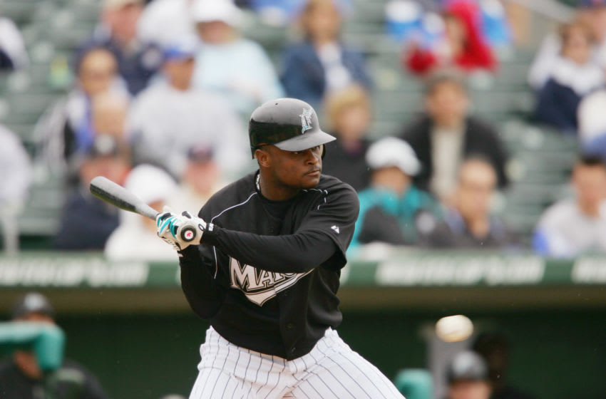 JUPITER, FL - MARCH 3 : Infielder Luis Castillo #1 of the Florida Marlins bats against the Baltimore Orioles during their spring training game on March 3, 2005 at Roger Dean Stadium in Jupiter, Florida. The Baltimore Orioles defeated the Florida Marlins 8-4. (Photo by Elsa/Getty Images)