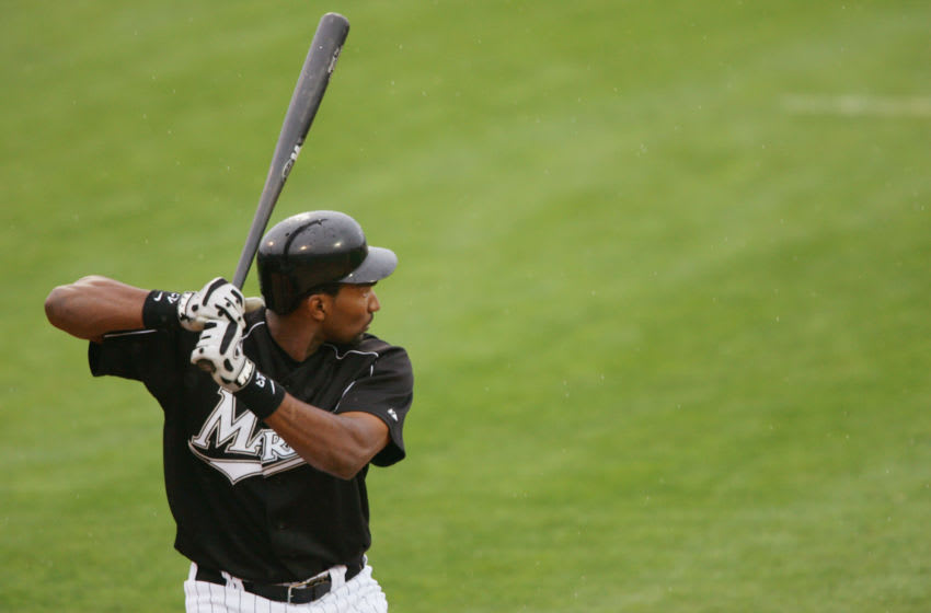JUPITER, FL - MARCH 3 : Outfielder Juan Encarnacion #43 of the Florida Marlins bats against the Baltimore Orioles during a spring training game on March 3, 2005 at Roger Dean Stadium in Jupiter, Florida. The Baltimore Orioles defeated the Florida Marlins 8-4. (Photo by Elsa/Getty Images)