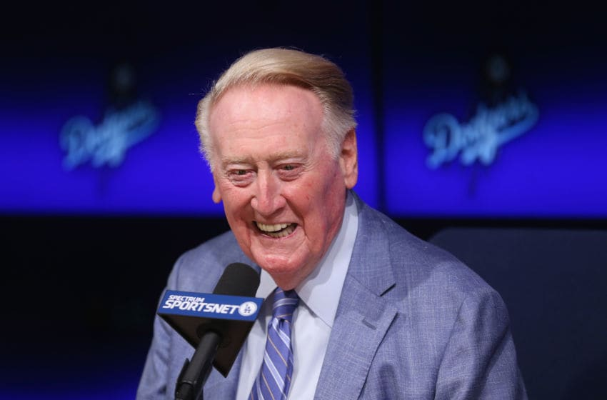 LOS ANGELES, CALIFORNIA - SEPTEMBER 24: Long time Los Angeles Dodgers announcer Vin Scully speaks at a press conference discussing his career upcoming retirement at Dodger Stadium on September 24, 2016 in Los Angeles, California. (Photo by Stephen Dunn/Getty Images)