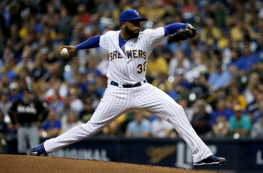MILWAUKEE, WI - SEPTEMBER 15: Jeremy Jeffress #32 of the Milwaukee Brewers pitches in the first inning against the Miami Marlins at Miller Park on September 15, 2017 in Milwaukee, Wisconsin. (Photo by Dylan Buell/Getty Images)