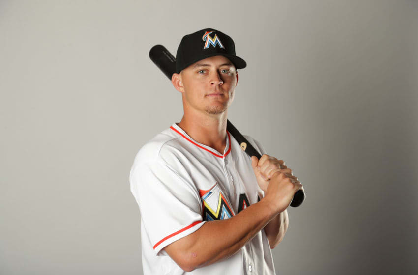 JUPITER, FL - FEBRUARY 22: Braxton Lee #74 of the Miami Marlins poses for a portrait at The Ballpark of the Palm Beaches on February 22, 2018 in Jupiter, Florida. (Photo by Streeter Lecka/Getty Images)