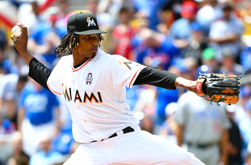 MIAMI, FL - MARCH 29: Jose Urena #62 of the Miami Marlins pitches in the first inning during Opening Day against the Chicago Cubs at Marlins Park on March 29, 2018 in Miami, Florida. (Photo by B51/Mark Brown/Getty Images) *** Local Caption *** Jose Urena
