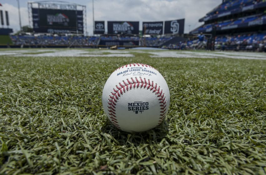 MONTERREY, MEXICO - MAY 06: Detail of the official game ball prior the MLB game between the San Diego Padres and the Los Angeles Dodgers at Estadio de Beisbol Monterrey on May 6, 2018 in Monterrey, Mexico. (Photo by Azael Rodriguez/Getty Images)
