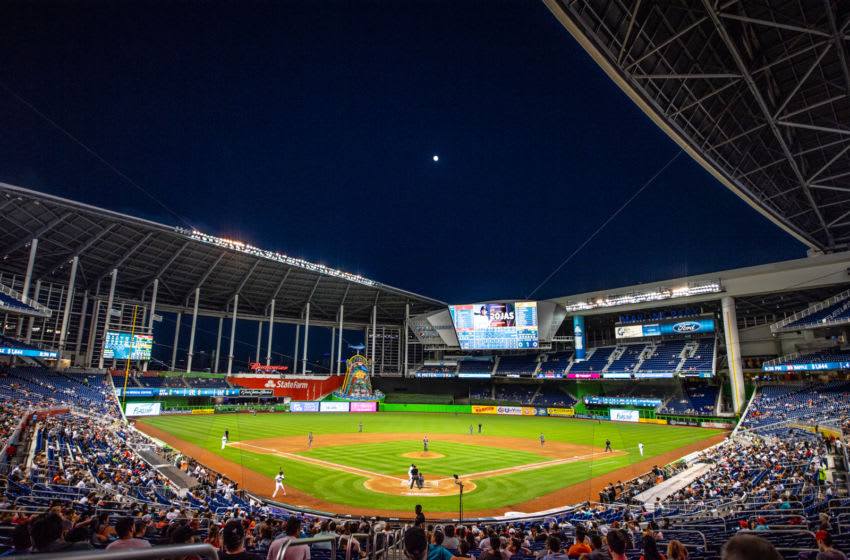 MIAMI, FL - JUNE 25: A detailed view of Marlins Park during the game between the Miami Marlins and the Arizona Diamondbacks at Marlins Park on June 25, 2018 in Miami, Florida. (Photo by Mark Brown/Getty Images)