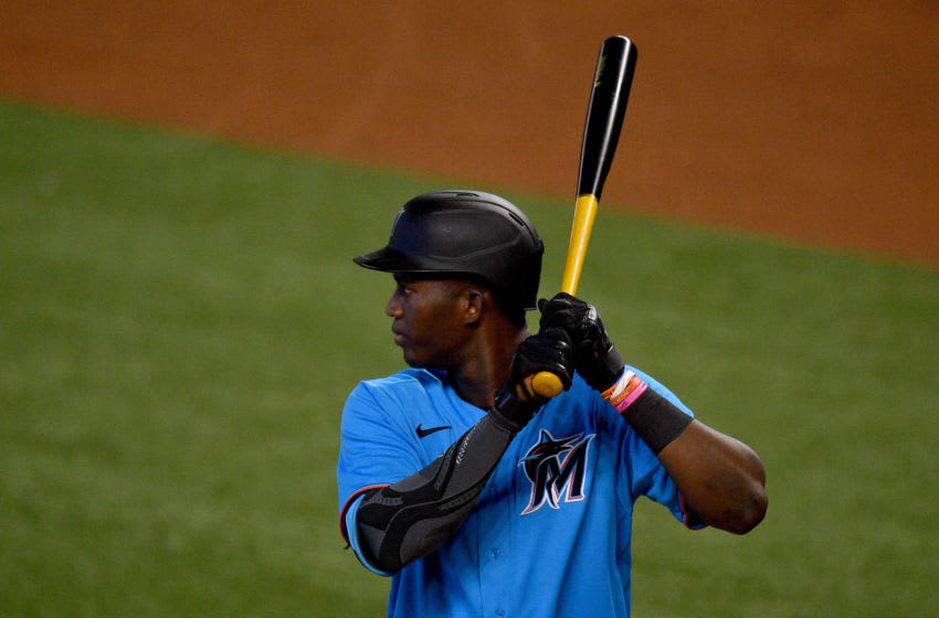 MIAMI, FLORIDA - JULY 16: Jesus Sanchez #76 of the Miami Marlins bats during an intrasquad game at Marlins Park on July 16, 2020 in Miami, Florida. (Photo by Mark Brown/Getty Images)