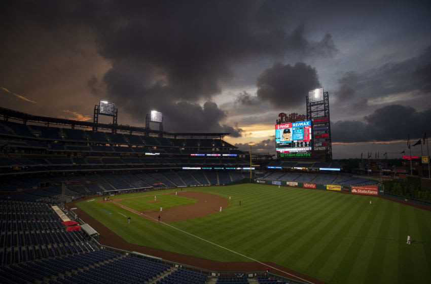 PHILADELPHIA, PA - JULY 24: A general view of Citizens Bank Park during the Opening Day game between the Miami Marlins and Philadelphia Phillies on July 24, 2020 in Philadelphia, Pennsylvania. The 2020 season had been postponed since March due to the COVID-19 pandemic. The Marlins defeated the Phillies 5-2. (Photo by Mitchell Leff/Getty Images)