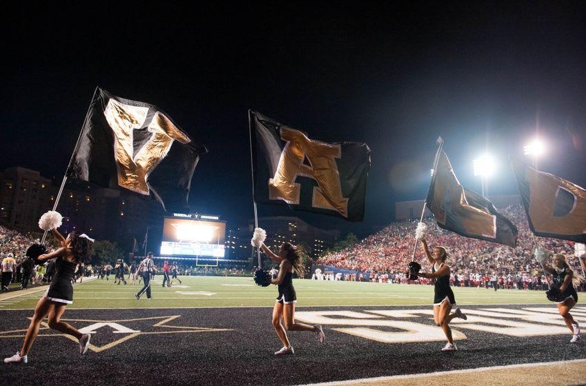 Sep 3, 2015; Nashville, TN, USA; Vanderbilt Commodores cheerleaders run on the field during the second half at Vanderbilt Stadium. Western Kentucky Hilltoppers won 14-12. Mandatory Credit: Joshua Lindsey-USA TODAY Sports