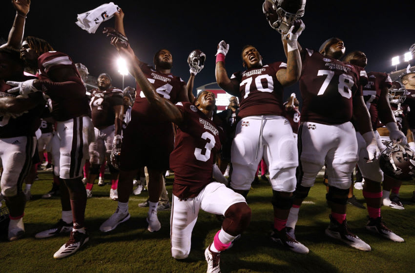 STARKVILLE, MS - OCTOBER 06: The Mississippi State Bulldogs celebrate a win over the Auburn Tigers at Davis Wade Stadium on October 6, 2018 in Starkville, Mississippi. (Photo by Jonathan Bachman/Getty Images)