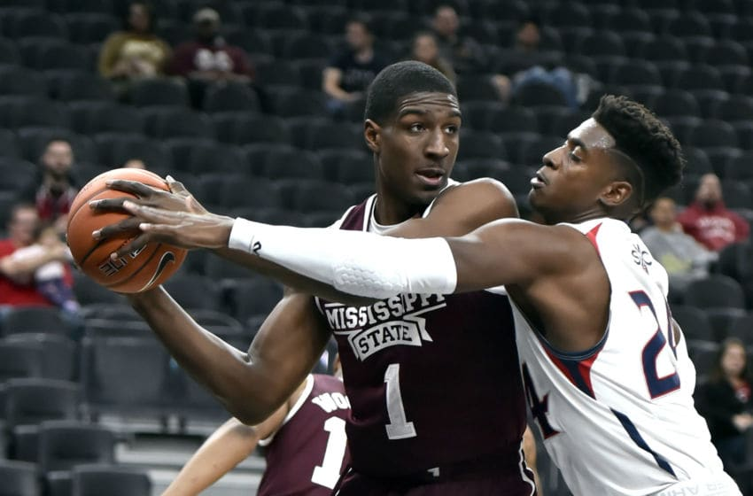 LAS VEGAS, NEVADA - NOVEMBER 21: Reggie Perry #1 of the Mississippi State Bulldogs keeps the ball from Malik Fitts #24 of the Saint Mary's Gaels during the first half of a game in the MGM Resorts Main Event basketball tournament at T-Mobile Arena on November 21, 2018 in Las Vegas, Nevada. (Photo by David Becker/Getty Images)