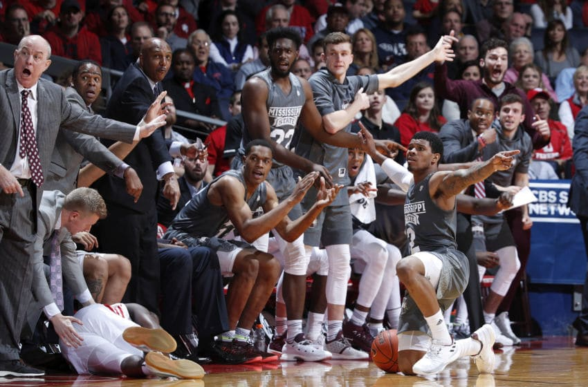 DAYTON, OH - NOVEMBER 30: Lamar Peters #2 of the Mississippi State Bulldogs pleads for the call after a loose ball scramble against the Dayton Flyers in the second half of the game at UD Arena on November 30, 2018 in Dayton, Ohio. The Bulldogs won 65-58. (Photo by Joe Robbins/Getty Images)