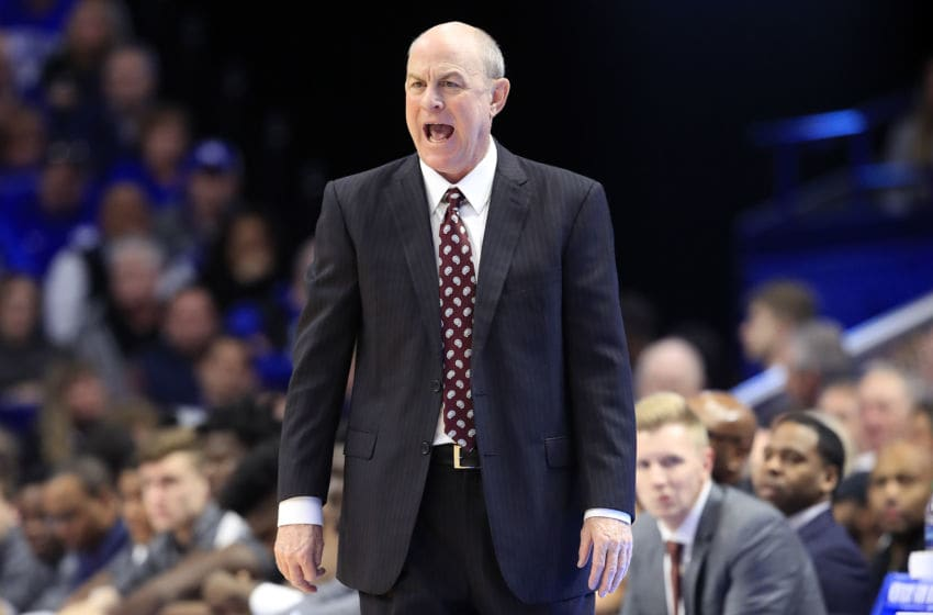 LEXINGTON, KENTUCKY - JANUARY 22: Ben Howland the head coach of the Mississippi State Bulldogs gives instructions to his team against the Kentucky Wildcats at Rupp Arena on January 22, 2019 in Lexington, Kentucky. (Photo by Andy Lyons/Getty Images)