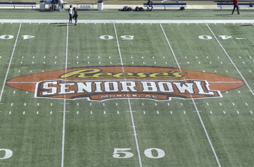 MOBILE, AL - JANUARY 26: A general view of the Reese's Senior Bowl Logo (Photo by Don Juan Moore/Getty Images)
