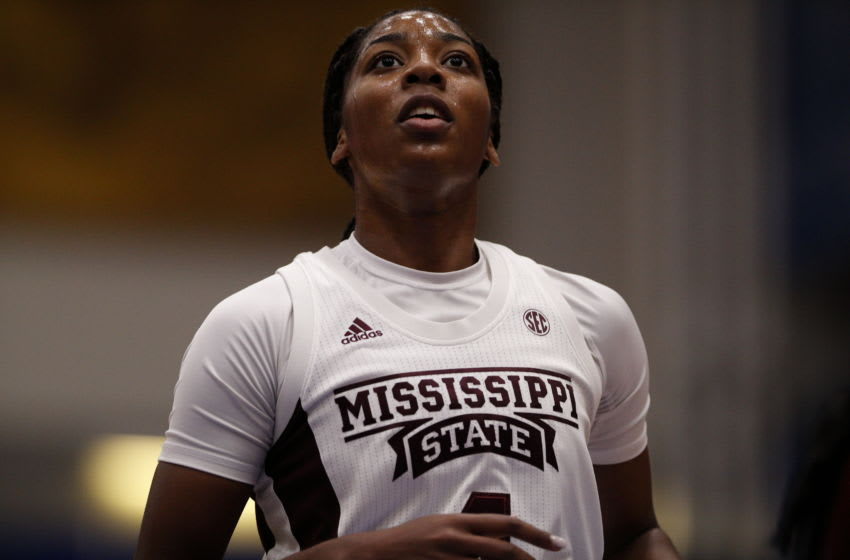 VICTORIA , BC - NOVEMBER 30: Jessika Carter #4 of the Mississippi State Bulldogs looks on against the Stanford Cardinal during the Greater Victoria Invitational at the Centre for Athletics, Recreation and Special Abilities (CARSA) on November 30, 2019 in Victoria, British Columbia, Canada. (Photo by Kevin Light/Getty Images)