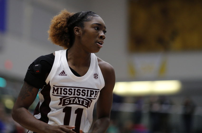 VICTORIA , BC - NOVEMBER 30: Xaria Wiggins #11 of the Mississippi State Bulldogs runs up court against the Stanford Cardinal during the Greater Victoria Invitational at the Centre for Athletics, Recreation and Special Abilities (CARSA) on November 30, 2019 in Victoria, British Columbia, Canada. (Photo by Kevin Light/Getty Images)