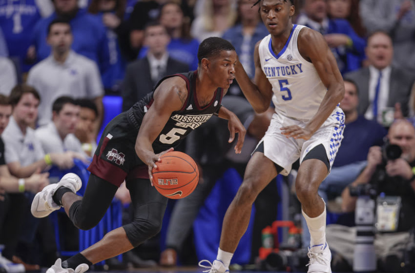 LEXINGTON, KY - FEBRUARY 04: Iverson Molinar #5 of the Mississippi State Bulldogs dribbles the ball against Immanuel Quickley #5 of the Kentucky Wildcats at Rupp Arena on February 4, 2020 in Lexington, Kentucky. (Photo by Michael Hickey/Getty Images)