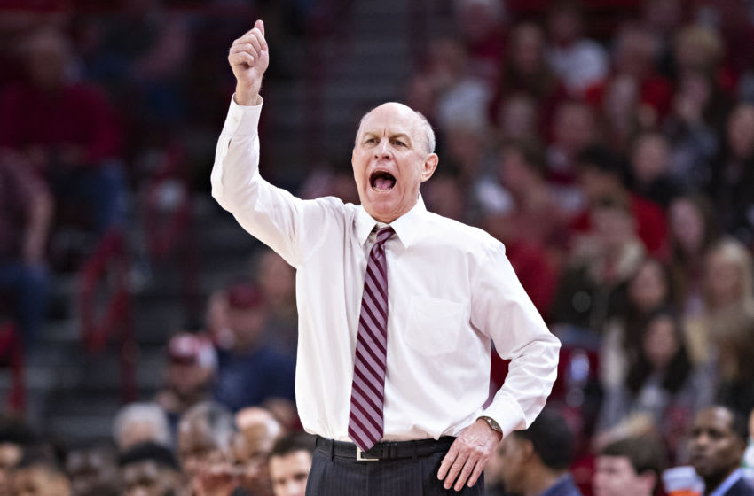 FAYETTEVILLE, AR - FEBRUARY 15: Head Coach Ben Howland of the Mississippi State Bulldogs directs his team during a game against the Arkansas Razorbacks at Bud Walton Arena on February 15, 2020 in Fayetteville, Arkansas. The Bulldogs defeated the Razorbacks 78-77. (Photo by Wesley Hitt/Getty Images)