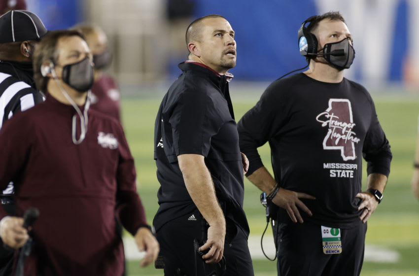 LEXINGTON, KY - OCTOBER 10: Defensive coordinator Zach Arnett of the Mississippi State Bulldogs looks on during a game against the Kentucky Wildcats at Kroger Field on October 10, 2020 in Lexington, Kentucky. Kentucky won 24-2. (Photo by Joe Robbins/Getty Images)