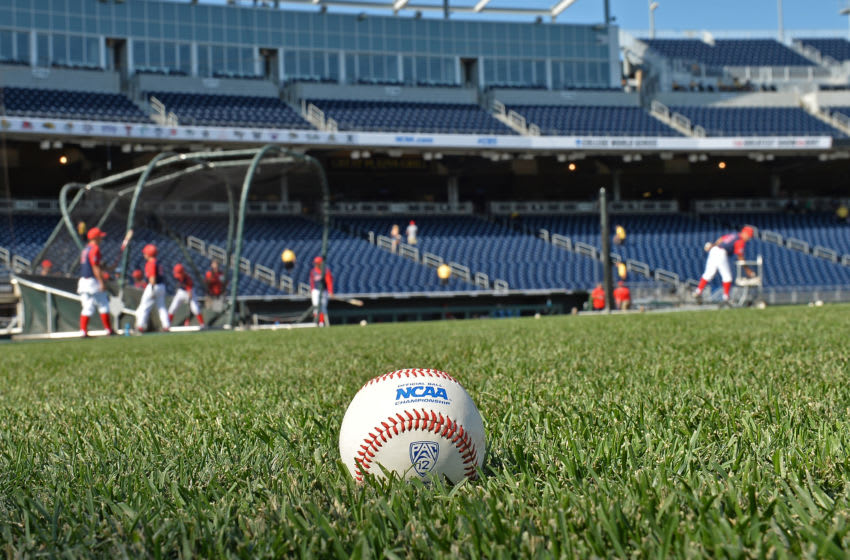 Omaha, NE - JUNE 28: A general view of an NCAA baseball on the field prior to game two of the College World Series Championship Series between the Arizona Wildcats and the Coastal Carolina Chanticleers on June 28, 2016 at TD Ameritrade Park in Omaha, Nebraska. (Photo by Peter Aiken/Getty Images)