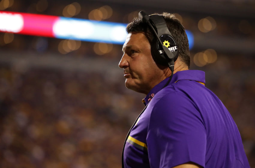 BATON ROUGE, LA - OCTOBER 01: Interim head coach Ed Orgeron watches the game against the Missouri Tigers at Tiger Stadium on October 1, 2016 in Baton Rouge, Louisiana. (Photo by Chris Graythen/Getty Images)
