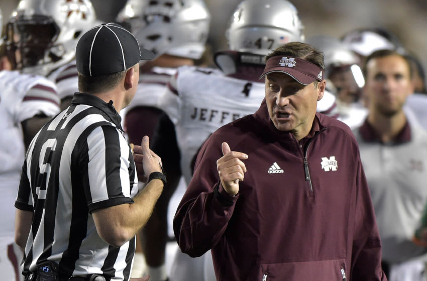 PROVO, UT - OCTOBER 14: Head coach Dan Mullen of the Mississippi State Bulldogs gestures to an official during their game against the Brigham Young Cougars at LaVell Edwards Stadium on October 14, 2016 in Provo Utah. (Photo by Gene Sweeney Jr/Getty Images)