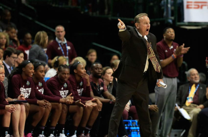 DALLAS, TX - MARCH 31: Head coach Vic Schaefer of the Mississippi State Lady Bulldogs reacts in the first quarter against the Connecticut Huskies during the semifinal round of the 2017 NCAA Women's Final Four at American Airlines Center on March 31, 2017 in Dallas, Texas. (Photo by Ron Jenkins/Getty Images)