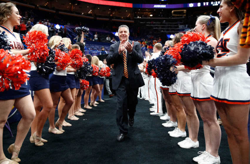 ST LOUIS, MO - MARCH 09: Head coach Bruce Pearl of Auburn Tigers walks to the court before the game against the Alabama Crimson Tide during the quarterfinals round of the 2018 SEC Basketball Tournament at Scottrade Center on March 9, 2018 in St Louis, Missouri. (Photo by Andy Lyons/Getty Images)