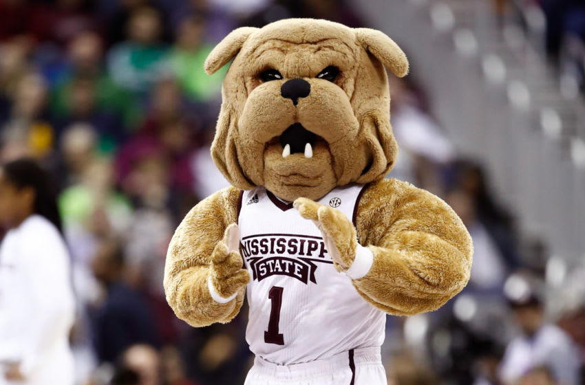 COLUMBUS, OH - APRIL 01: The Mississippi State Lady Bulldogs mascot