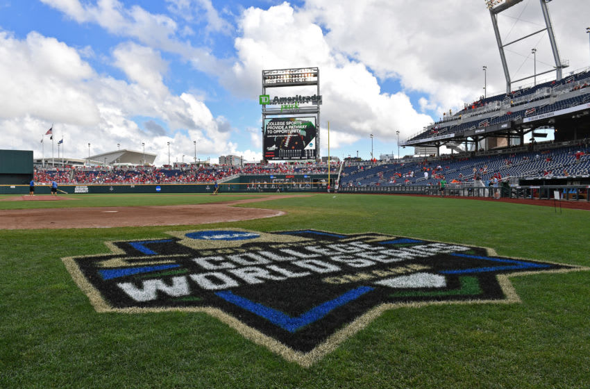 Omaha, NE - JUNE 25: A general view of TD Ameritrade Park as the grounds crew gets the field ready for game one of the College World Series Championship Series between the Arkansas Razorbacks and the Oregon State Beavers on June 25, 2018 at in Omaha, Nebraska. (Photo by Peter Aiken/Getty Images)