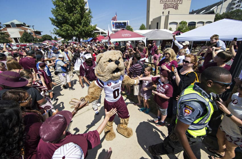 STARKVILLE, MS - SEPTEMBER 19: Bully, the mascot of the Mississippi State Bulldogs, greets fans during the walk into the stadium before a game against the Northwestern State Demons at Davis Wade Stadium on September 19, 2015 in Starkville, Mississippi. (Photo by Wesley Hitt/Getty Images)