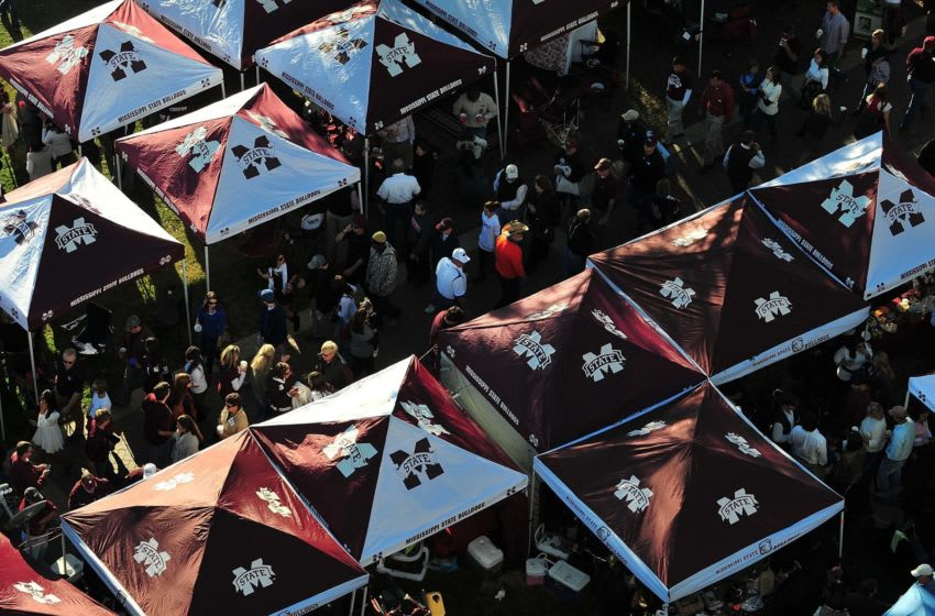Fans tailgating prior to the Mississippi State football game (Photo by Rick Dole/Getty Images)