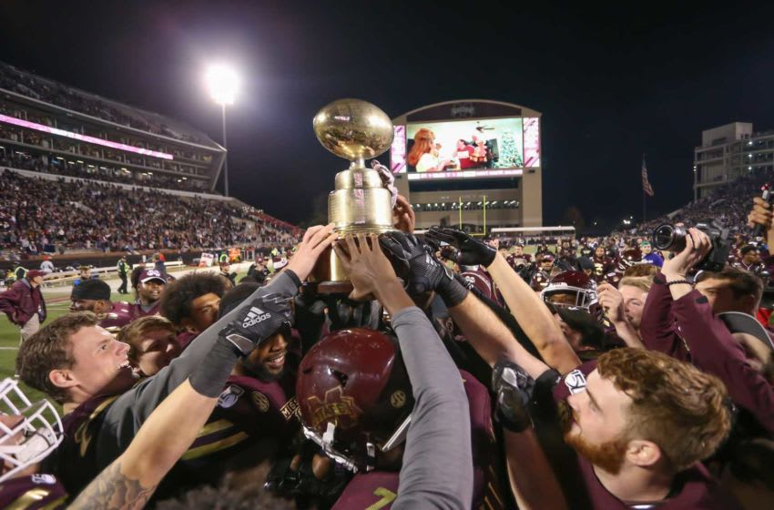MSU players celebrate after winning the Egg Bowl 21-20. Mississippi State and Ole Miss played in the Egg Bowl on Thursday, November 28, 2019 at Davis Wade Stadium in Starkville. 2019 Egg Bowl
