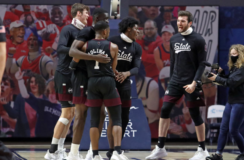 Feb 20, 2021; Oxford, Mississippi, USA; Mississippi State players celebrate after defeating the Mississippi Rebels at The Pavilion at Ole Miss. Mandatory Credit: Petre Thomas-USA TODAY Sports