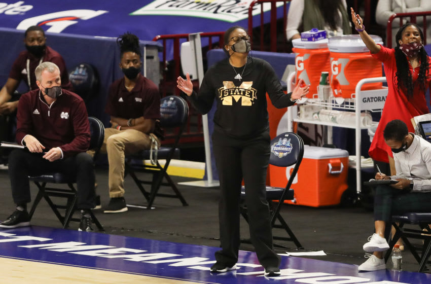 Mar 4, 2021; Greenville, SC, USA; Mississippi State Bulldogs head coach Nikki McCray-Penson reacts during the first half against the LSU Lady Tigers at Bon Secours Wellness Arena. Mandatory Credit: Dawson Powers-USA TODAY Sports